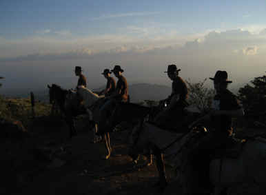 horseback ride in the suset Monteverde Costa Rica