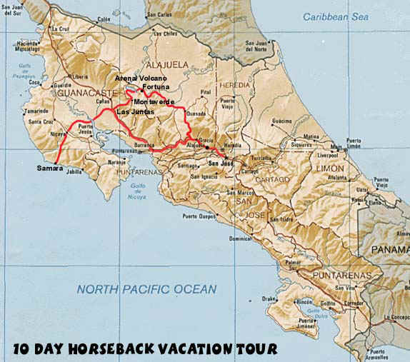 Costa Rica horseback riding vacation tour map